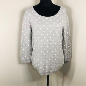 Basic Editions Gray and White Polka Dot Sweater M